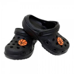 12 Units of Boys Garden Shoes In Black With Basketball Embellishment - Boys Flip Flops & Sandals