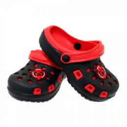 12 Units of Boys Garden Shoes In Black And Red - Boys Flip Flops & Sandals