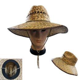20 Units of Straw Sun Hat [Open Weave] Brown Trim - Cowboy & Boonie Hat