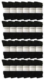 24 Units of Yacht & Smith Women's Premium Cotton Crew Socks Black Size 9-11 - Womens Crew Sock
