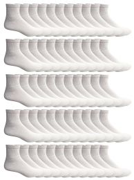 72 Units of Yacht & Smith Men's Premium Cotton Sport Ankle Socks Size 10-13 Solid White - Mens Ankle Sock