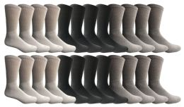 24 Units of Yacht & Smith Men's Sports Crew Socks, Assorted Colors Size 10-13 - Mens Crew Socks