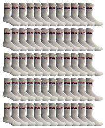 72 Units of Yacht & Smith Women's Usa American Flag Crew Socks, Size 9-11 White - Womens Crew Sock