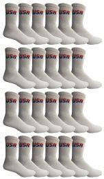 24 Units of Yacht & Smith Women's USA American Flag Crew Socks, Size 9-11 White - Womens Crew Sock