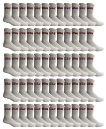 60 Units of Yacht & Smith Men's Usa White Crew Socks Size 10-13 - Mens Crew Socks
