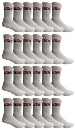24 Units of Yacht & Smith Men's USA White Crew Socks Size 10-13 - Mens Crew Socks