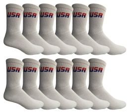 12 Units of Yacht & Smith Men's Cotton Terry Cushioned Crew Socks White USA, Size 10-13 - Mens Crew Socks