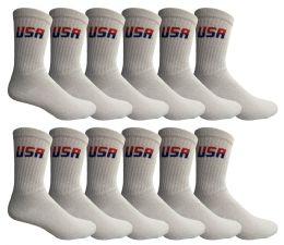 12 Units of Yacht & Smith Men's USA White Crew Socks Size 10-13 - Mens Crew Socks