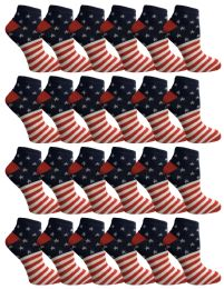 24 Units of Yacht & Smith Usa Printed Ankle Socks Size 9-11 - Womens Ankle Sock