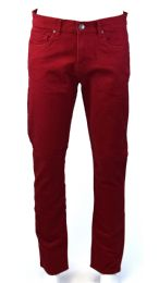 24 Units of Mens Slim Jeans Solid Maroon - Mens Jeans