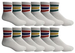 120 Units of Yacht & Smith Kids Cotton Quarter Ankle Socks Size 6-8 White With Stripes - Boys Ankle Sock