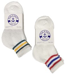 12 Units of Yacht & Smith Kids Cotton Quarter Ankle Socks Size 6-8 White With Stripes - Boys Ankle Sock