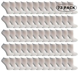 72 Units of Yacht & Smith Kids No Show Cotton Ankle Socks Size 6-8 White - Boys Ankle Sock