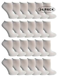 24 Units of Yacht & Smith Kids No Show Cotton Ankle Socks Size 6-8 White - Boys Ankle Sock
