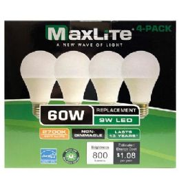 24 Units of Maxlite 4 Pack Led Bulb 9 Watt - Lightbulbs