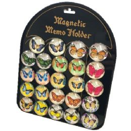 72 Units of Round Dome Magnets Butterflies With Display Board - Refrigerator Magnets