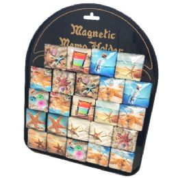 72 Units of Square Glass Magnet Seashells With Display Board - Refrigerator Magnets
