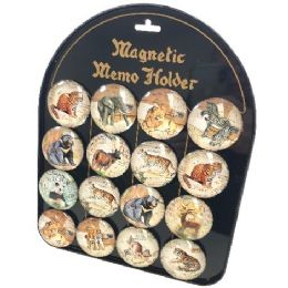 96 Units of Round Dome Magnets Wild Animals With Display Board - Refrigerator Magnets