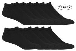 12 Units of Yacht & Smith Kids No Show Ankle Socks Size 4-6 Black - Boys Ankle Sock