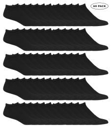 60 Units of Yacht & Smith Kids No Show Ankle Socks Size 4-6 Black - Boys Ankle Sock