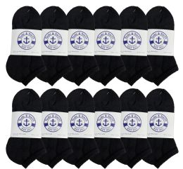12 Units of Yacht & Smith Kids No Show Ankle Socks Size 6-8 Black - Girls Ankle Sock