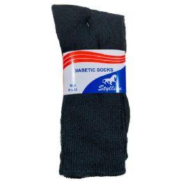 36 Units of Three Pack Diabetic Crew Sock Black - Diabetic Socks