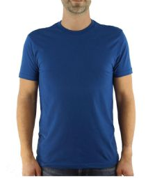 24 Units of Mens Cotton Crew Neck Short Sleeve T-Shirts Solid Blue, Small - Mens T-Shirts