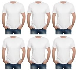 12 Units of Mens First Quality Cotton Short Sleeve T Shirts Solid White Size L - Mens T-Shirts