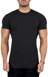 24 Units of Mens Cotton Crew Neck Short Sleeve T-Shirts Black, XX-Large - Mens T-Shirts