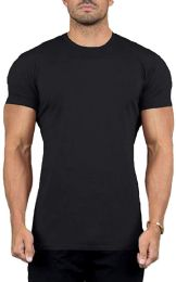 12 Units of Mens Cotton Crew Neck Short Sleeve T-Shirts Black, XX-Large - Mens T-Shirts