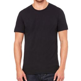 12 Units of Mens Cotton Crew Neck Short Sleeve T-Shirts Black, Small - Mens T-Shirts