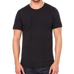 24 Units of Mens Cotton Crew Neck Short Sleeve T-Shirts Black, Large - Mens T-Shirts