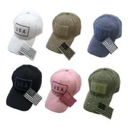 36 Units of Embroidered Flag Hat With Detachable Patch USA - Baseball Caps & Snap Backs