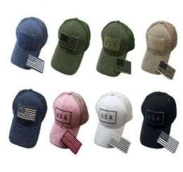 36 Units of Embroidered Flag Hat With Detachable Patch USA Soft Mesh Back - Baseball Caps & Snap Backs