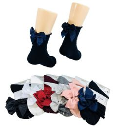 36 Units of Ladies Fashion Socks Rolled Top With Bow - Womens Dress Socks