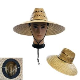 60 Units of Large Brim Straw Sun Hat Open Weave - Sun Hats