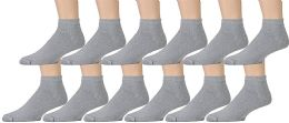 12 Units of Yacht & Smith Men's No Show Ankle Socks, Cotton . Size 10-13 Gray - Mens Ankle Sock