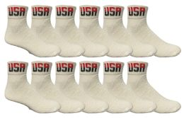12 Units of Yacht & Smith Men's King Size Cotton Sport Ankle Socks Size 13-16 Usa White - Big And Tall Mens Ankle Socks