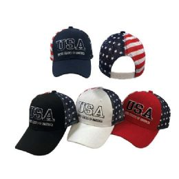 36 Units of USA United States of America Ball Cap Flag Mesh Back - Baseball Caps & Snap Backs
