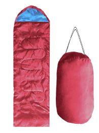 12 Units of ADULTS SLEEPING BAG IN BURGUNDY - Camping Sleeping Bags