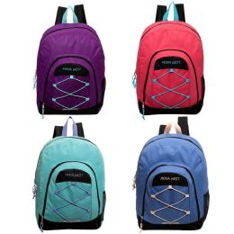 """24 Units of 18"""" Bulk Bungee Sport Backpack in 4 Assorted Colors - Backpacks 18"""" or Larger"""
