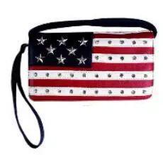 6 Units of Rhinestone USA Wallet Purse - Shoulder Bags & Messenger Bags