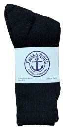 240 Units of Yacht & Smith Women's Premium Cotton Crew Socks Black Size 9-11 - Womens Crew Sock