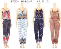 96 Units of Jump Suit with Cultural Pattern Assorted - Womens Rompers & Outfit Sets