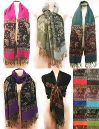 24 Units of Large Butterfly With Fringes Pashmina Scarves Assorted - Womens Fashion Scarves