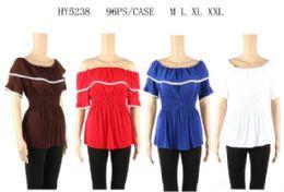 96 Units of Loose Shoulder Ruffle Tops - Womens Fashion Tops