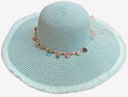 36 Units of Ladies Hat with Flayed Rim With seashells and tie - Sun Hats