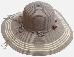 36 Units of Ladies Large Hat with Tie - Sun Hats