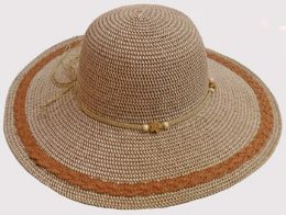 36 Units of Ladies Large Brim Blend Hat with Tie - Sun Hats