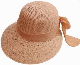 36 Units of Ladies Sun Hat with Ribbon - Sun Hats